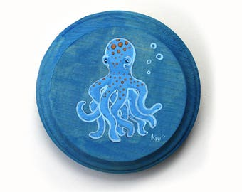 Octopus - Original Wall Art Acrylic Small Painting on Wood by Karen Watkins - Miniature Sea Creature Wall Art