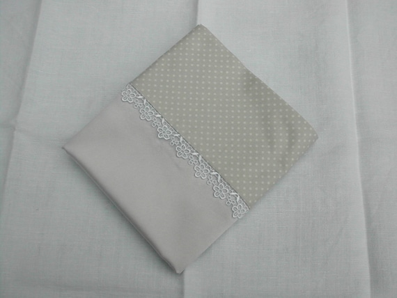 Silver grey silk pillowcase with cotton back.  Pair