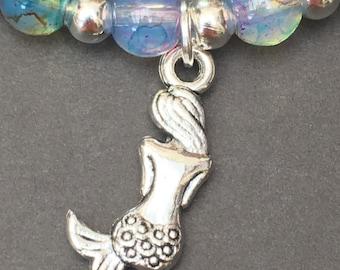 Stretch beaded bracelet with Mermaid charm