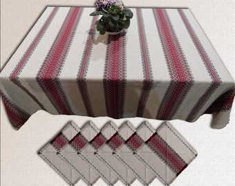 Easter Ukrainian tablecloth Kitchen Table linen Ukrainian napkins Ukrainian embroidery Home decor Linen tablecloth Christmas tablecloth