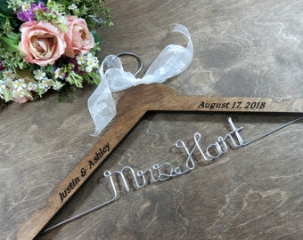 Engraved Bridal Wedding Hangers Wire Hangers Bride Hangers Bridal Accessories Wedding Photo Props