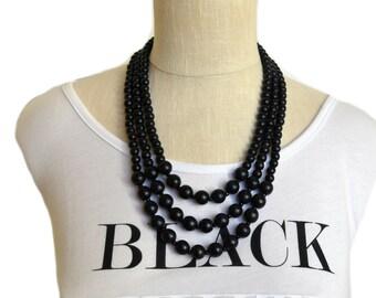 black statement necklace / black necklace / black bead necklace / 3 strand necklace /  multi strand necklace / wood bead necklace