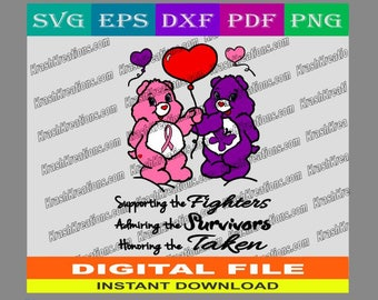 Breast cancer and domestic violence awareness bears, SVG