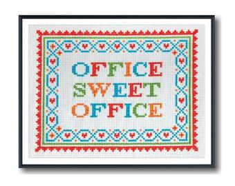 Modern Cross Stitch - Office Sweet Office Cross Stitch Pattern by Tiny Modernist