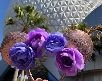 Rose Gold Purple Flower Crown Mouse Ears