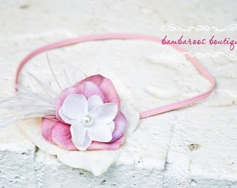 feather baby headband, newborn headband, rose pink, ivory
