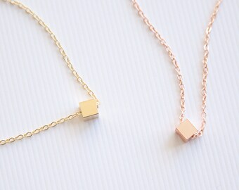 Cube Necklace, Geometric Necklace Gold, Minimalist Necklace, Delicate Necklace for Girls, Contemporary Jewelry, Floating Pendant Necklace