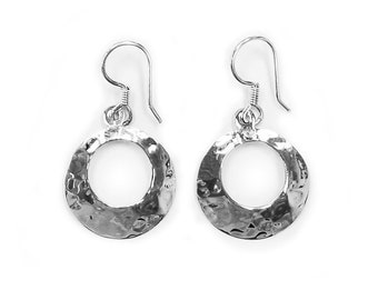 Sterling Silver Hammered Round Earring