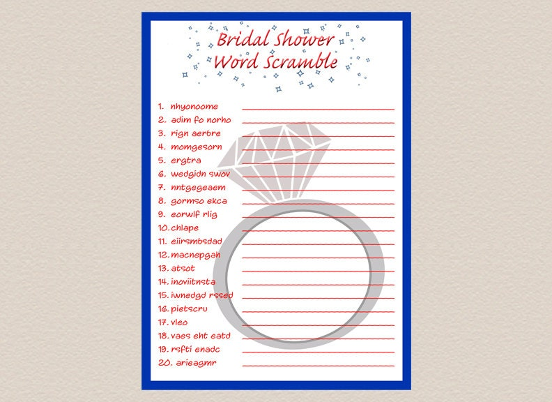 Bridal Shower Word Scramble Game Instant Download Printable