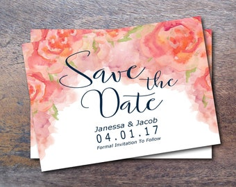Watercolor Blush Wedding Save The Date // Printable Wedding Rose Wedding Suite // Floral Save The Date // Garden Wedding Boho Save The Date