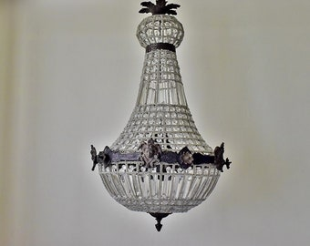 Antique Ceiling Light - Beaded Chandelier Lighting with Crystal, Glass Pearls and Bronze Decor - French Home Hanging Lamp Fixtures, 1950s.
