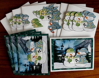 Caroling Snowman Couple, Winter Any Occasion DIY Card Kit - Hand Made 4 card and envelopes.