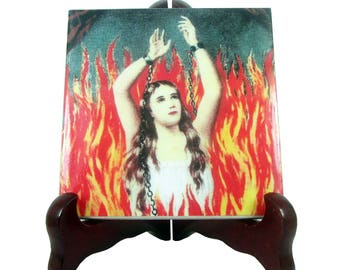 Anima Sola - The Lonely Soul - catholic art - collectible ceramic tile - religious art - devotional gift - catholic Purgatory made in Italy
