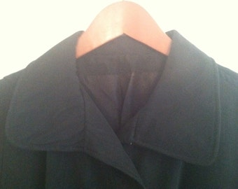 Vintage Black Raincoat with Gold Trim