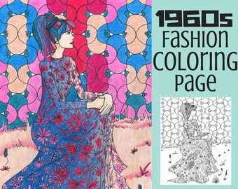 Adult Coloring Page-Fashion Coloring Page- Vintage Coloring Page- Printable