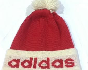 Vintage Adidas beanie, snow cap, ski hat, fully wools, adidas trefoil by decente vintage accessories adidas one size