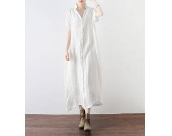 Womens Summer Loose Fitting V Neck Short Sleeve Linen Blouses With Pockets, Womans Casual Blouses, Shirt Dress, Long Blouses, Linen Blouses