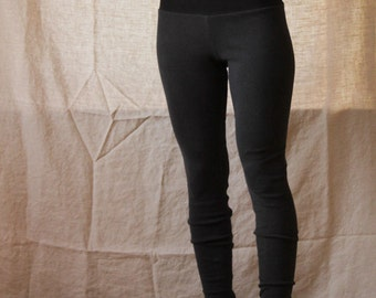 Organic High Waisted Leggings- Stretchy Hemp and Organic Cotton