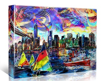 New York Skyline Painting, NY Skyline Canvas, Sailing Artwork