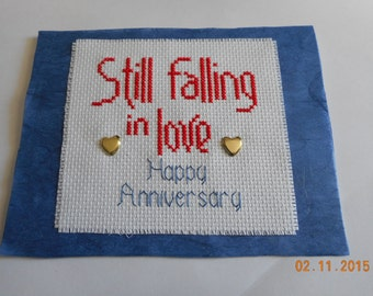 ANNIVERSARY CARD Still Falling in Love completed cross stitch card