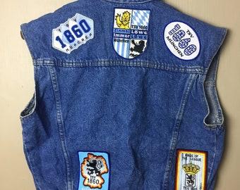 TSV 1860 Munchen Football Soccer Denim Sleeveless Jacket with various patch TSV 1860 Munchen Football Soccer