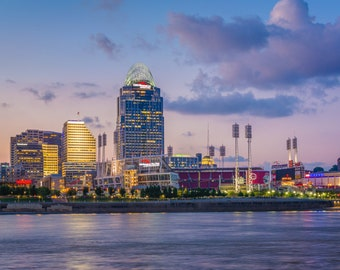 The Cincinnati skyline and Ohio River at night, seen from Covington, Kentucky. Photo Print, Metal, Canvas, Framed.