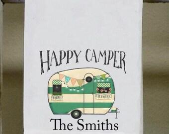 Happy Camper Personalized , Kitchen Dish Towel, retro, vintage, black lettering, camping, camper decor