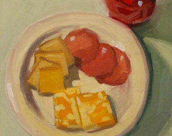 Salami, Cheese and Crackers- Original Oil Painting on 6x6 inch Ampersand Gessobord