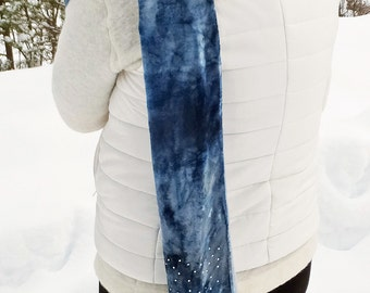 Blue scarf, blue velvet scarf, jeweled scarf, sparkly scarf, rhinestone scarf, sparkle scarf, embellished scarf, blingy scarf, hand dyed
