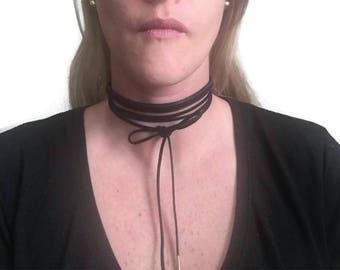 Black Choker Suede Multi Strand Choker Multistrand Necklace Multi Strand Necklace Choker for women Vegan Suede Necklace Faux Suede Choker