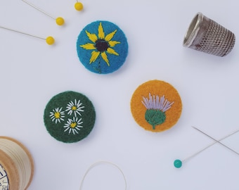 felt sunflower, daisy and thistle badges -  set of 3 flowers  - recycled eco felt - eco stocking filler - flower pin badge