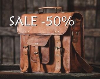 """SALE / Leather Messenger Bag 15""""  / Air Plane Cabin Bag / Briefcase / Handbag / Satchel / Shoulder Bag / iPad / Hip Bag"""