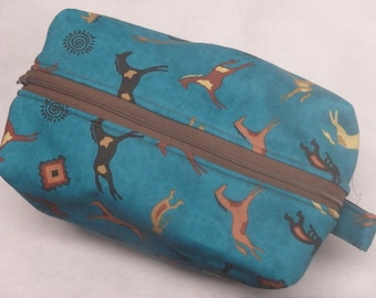 Wild Horses Bag, Travel Bag, Ditty Bag, Kokopelli Bag, Pencil Case, Zip Pouch, Toy Bag, Pony Bag, Gifts for Girls, Gifts Under 20