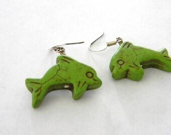 Large Green Dolphin Dangle Earrings Stone Earrings