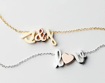New Item - Gold Initial Charm Necklace - REGULAR SIZE - Initial Necklace Letter Necklace Friendship Gift For Her - RCIN