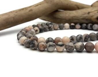 Pink Zebra Jasper beads 60 natural 6 mm - stone natural semi precious - A234