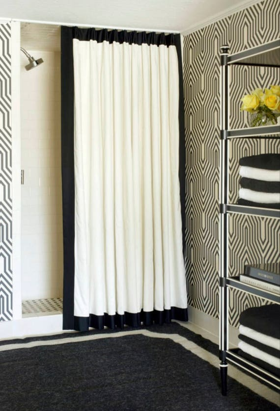Black Trim Shower Curtain Trimmed Contrast Banding Custom
