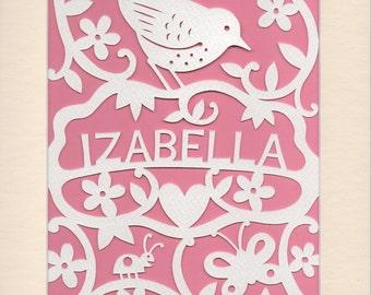 Personalized Baby Gift, Childrens Wall Art, Woodland Nursery Decor, Papercut Nursery Art, Kids Room Decor