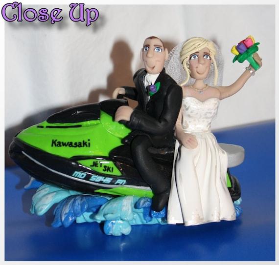 Wedding Cake Topper Bride Groom On Jet Ski