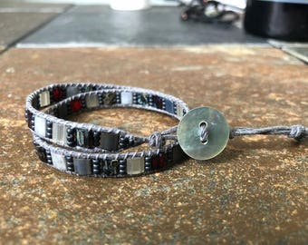Gray Hemp Wrap Bracelet, Hemp Wrap Bracelet, Beaded Wrap Bracelet, Wrap Bracelet, Beaded Bracelet, Hemp Bracelet