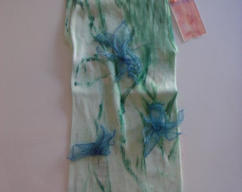 green & turquoise   tones on this hand dyed and silk embellished tee