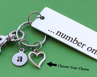 Personalized Number One Key Chain Stainless Steel Customized with Your Charm & Initial -K520