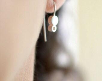 Minimalist Earrings, Sterling Silver Drop Earrings, Two Circle Earrings, Modern Minimalist Jewelry, Margery Earrings