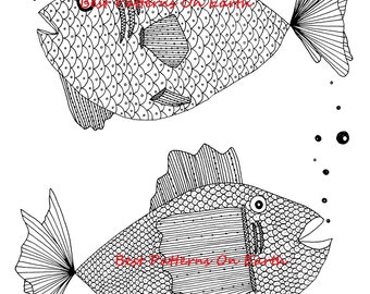 2 Fish Coloring Page - Zen Fish - Detailed Fish - Adult Coloring Pages - Kids Coloring Book PDF- Zendoodle