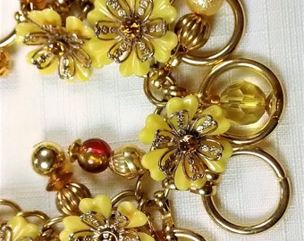 MJ-124, Yellow Flowers with Gorgeous Accents Charm Bracelet Full of Sunshine