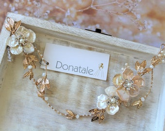 Boho Bridal Back Headpiece, Gold Pearl Flower Hair Vine , Wedding Hair  piece ,Wedding Hair Vine ,Bridal hair accessories, Hairpiece