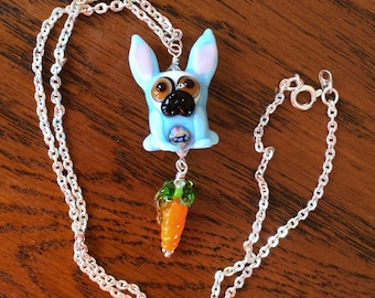 Easter Pug with Carrot Lampwork Necklace OOAK