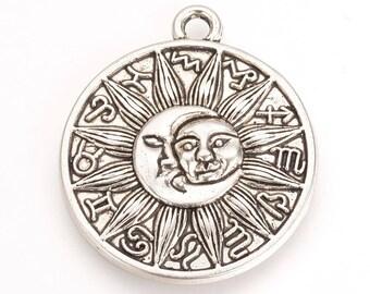 Sun Charms Sunshine Charm Silver Sun Charms Celestial Charms Sunshine Pendants Metal Sun Charms Sun and Moon Charms Zodiac Charms 29mm 2pc