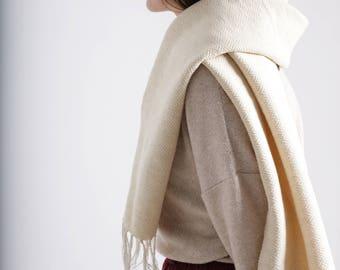 white woven scarf - diamond scarf - merino wool scarf - wool cotton scarf - winter white scarf - white cream scarf - handwoven scarf