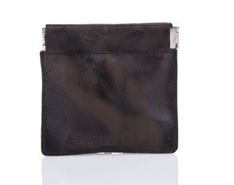 Suvelle Men's Genuine Leather Facile Squeeze Coin Pouch Change Purse Holder Wallet WS616